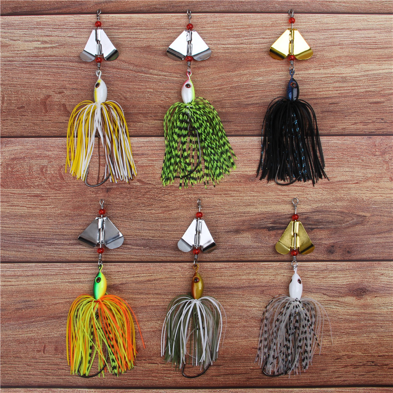 6pcs 12pcs 20g Artificial Metal spinner bait Chatterbait metal spoons with silicone skirts lure for pike bass trout fishing-5