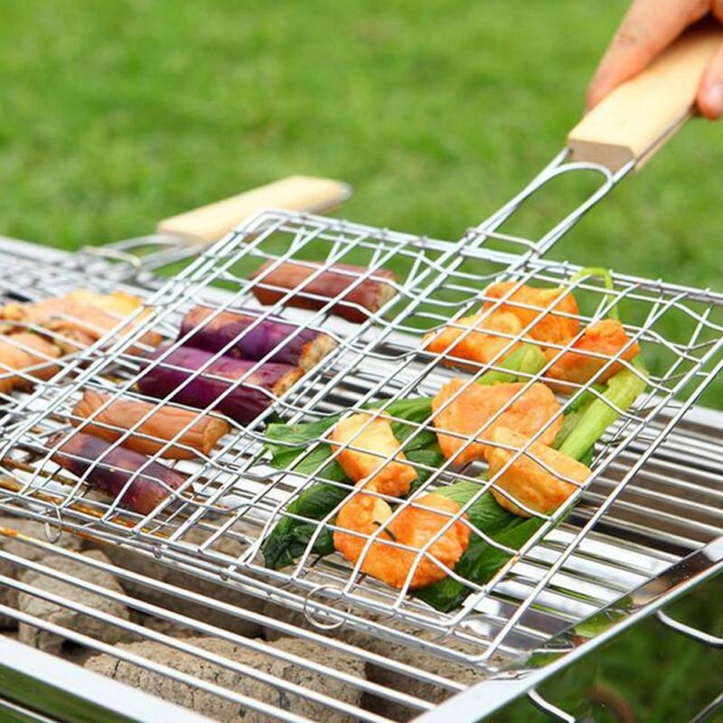 Barbecue Meshes Camping Grill Rack BBQ Clip Folder Grill Roast Folder Basket Tool Meat Fish Vegetable BBQ Tool Wooden Handle
