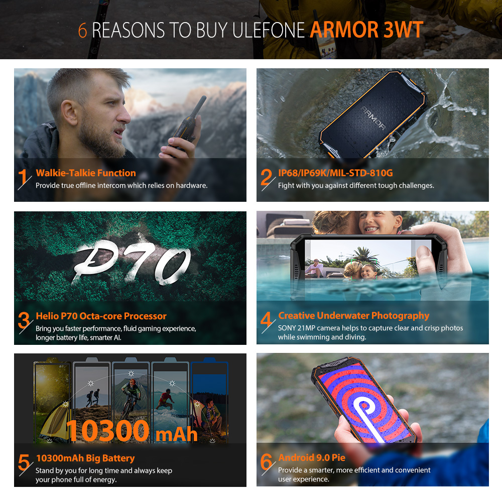 Ulefone Armor 3WT Walkie-Talkie Rugged Mobile Phone 2.4G/5G WiFi Android 9.0  6GB 64GB 10300mAh  NFC 4G Globalvision Smarphone