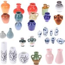 Domek dla lalek 1:12 Mini porcelana ceramiczna wazon akcesoria domek dla lalek miniatury akcesoria dekoracyjne miniatura 1/2/3/5/7/9 sztuk/zestaw