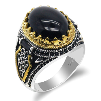 Natural Agate Stone 925 Silver Men's Ring  Power Auspicious Ring Handmade Turkish Signet Rings Rock Jewelry Gift for Women Men