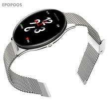 Epopoos relógio inteligente 2020 tela de vidro temperado fitness smartwatch ip68 à prova dip68 água freqüência cardíaca pressão arterial relógio inteligente es