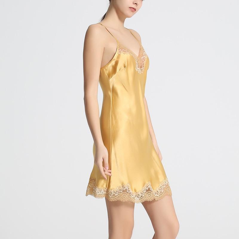 Sexy Echte Zijde Lingerie Zijden Nachthemd Vrouwen Jurk Lace Night Dress Nachtkleding Nightie Geel Satijn Homewear Dames Nachtkleding - 4