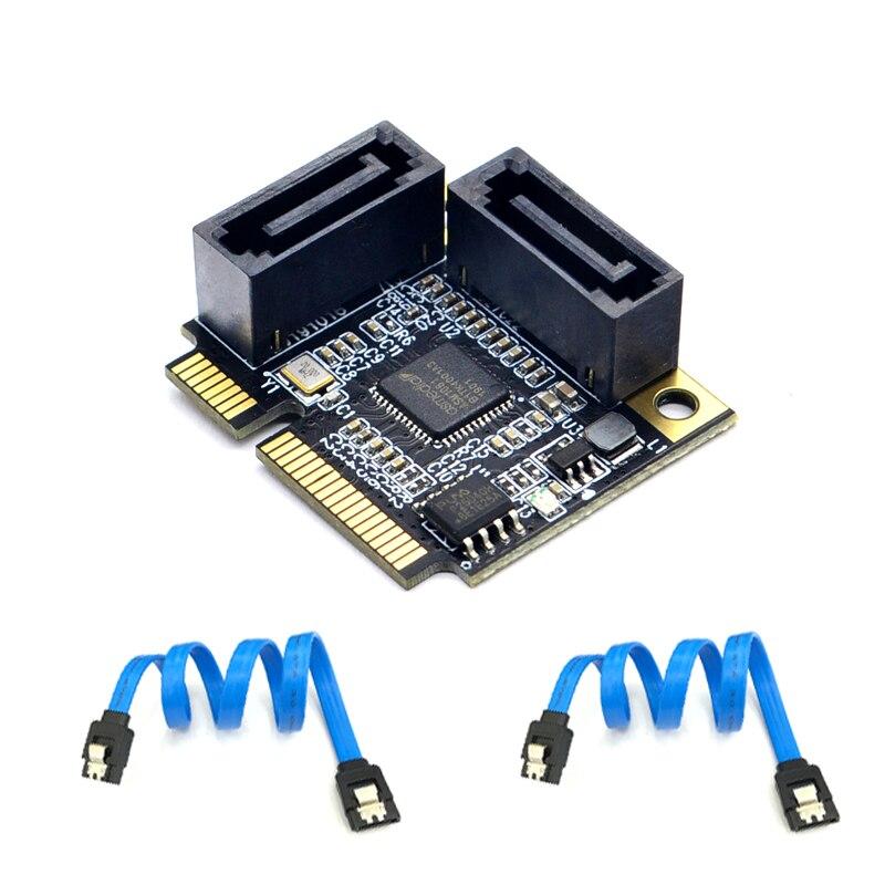 2 Ports Mini PCI-E PCI Express to SATA 3.0 Converter Hard Drive Extension Card with SATA Cable for PC Computer Add On Cards SATA
