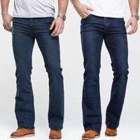 Men's Boot Cut Jeans Slightly Flared Slim Fit Famous Brand Blue Black jeans Designer Classic Male Stretch Denim jeans 1