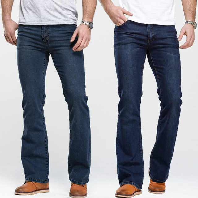 Men's Boot Cut Jeans Slightly Flared Slim Fit Famous Brand Blue Black jeans Designer Classic Male Stretch Denim jeans 1