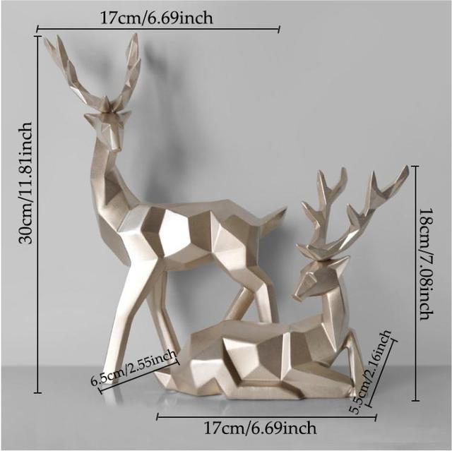 Deer Statue Family Deers Figurines Resin Sculpture Home Decor Reindeer Scandinavian Home living room decoration 2