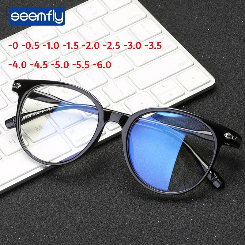 Seemfly Retro Student Transparent Frame Myopia Magnifier Anti-blue Light Goggles Reading Glasses Myopia Glasses 50-600 Degrees