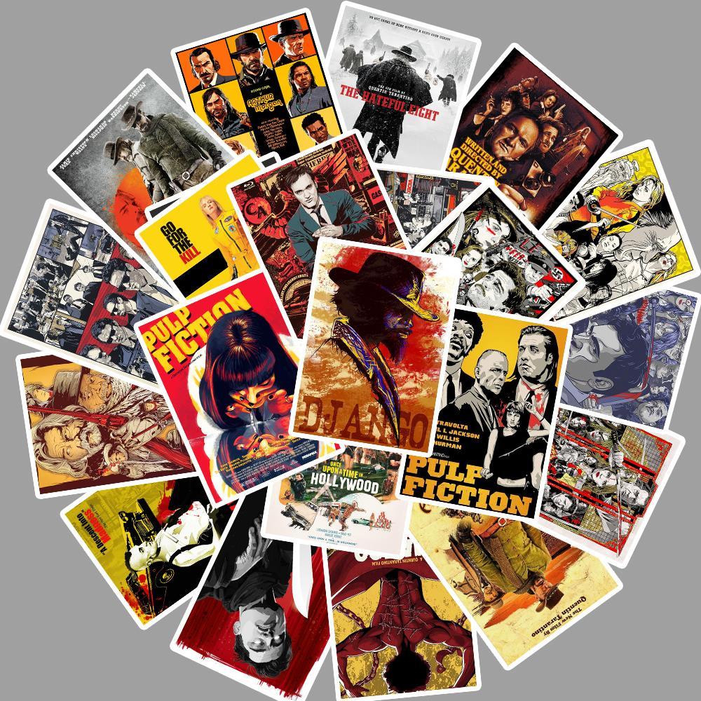 24Pcs Quentin Tarantino Movie Pulp Fiction/kill Bill Stickers For DIY Laptop Luggage Refrigerator Decor Waterproof Toy Sticker