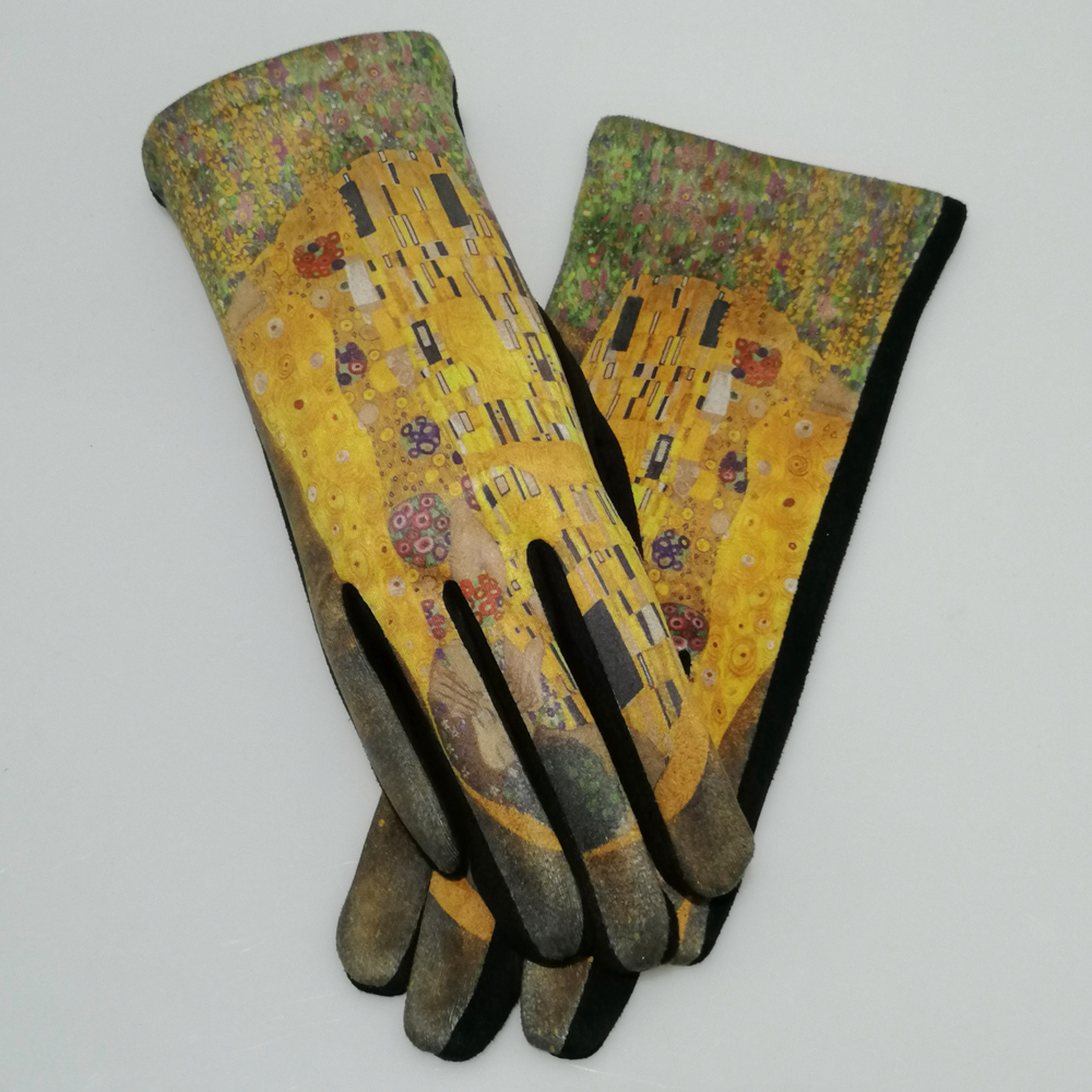 Gustav Klimt's Oil Painting Gloves Women Der Kuss Pattern Touch Screen Guantes De Mujer Necessary For Party Accessories Gants
