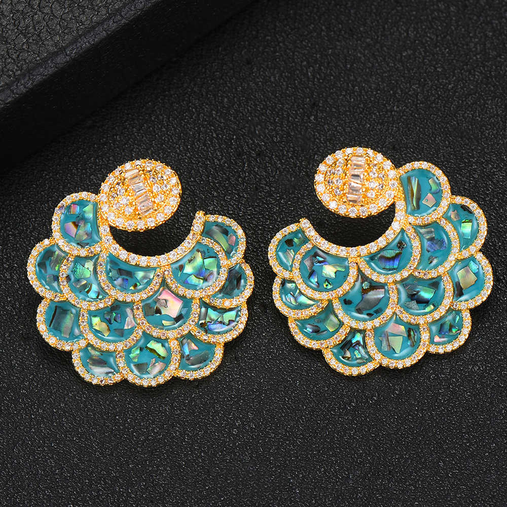 GODKI Shell Charms Multicolor AAA Crystal Stud Earrings Trendy Statement Water Drop Earrings For Women Fashion Jewelry