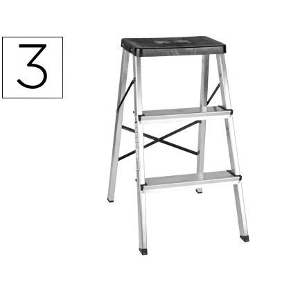 STOOL Q-CONNECT ALUMINUM 'S 3 TREADS 660X350MM 2,4KG MAX WEIGHT 150 KG IN-14183