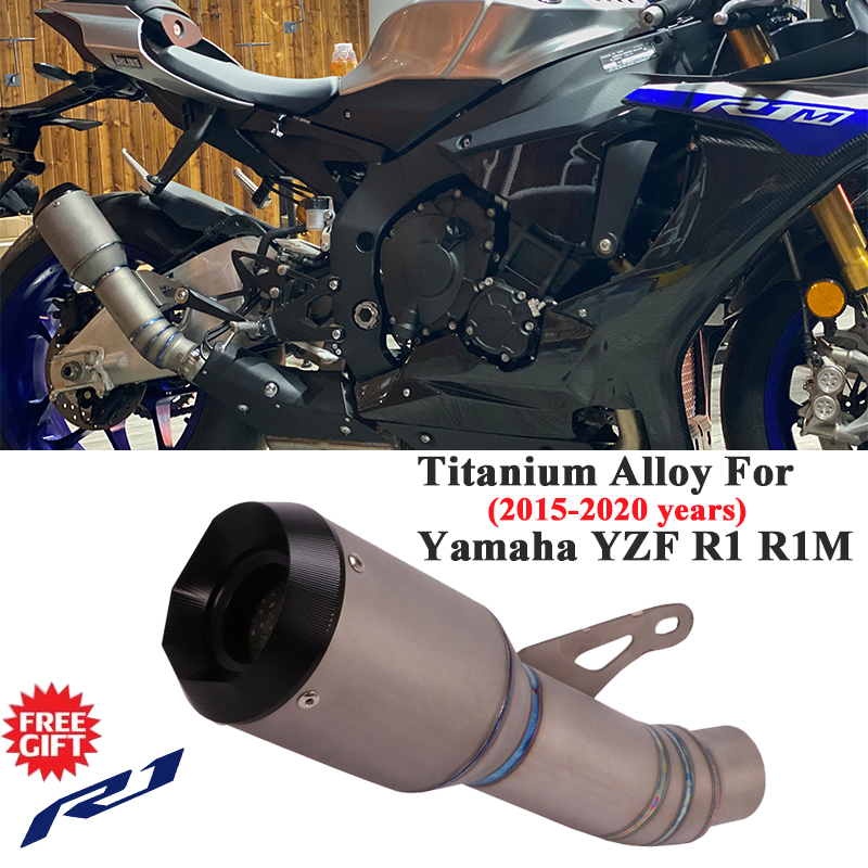 Titanium Alloy Slip On For Yamaha YZF <font><b>R1</b></font> <font><b>2019</b></font> R1M 2015 - 2020 Motorcycle Exhaust Pipe Escape Modified Middle Link Pipe Muffler image