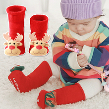 Christmas Baby Socks Cotton Cartoon Jacquard Socks Red Christmas Children Socks Autumn Winter Absorb Sweat Permeability Socks