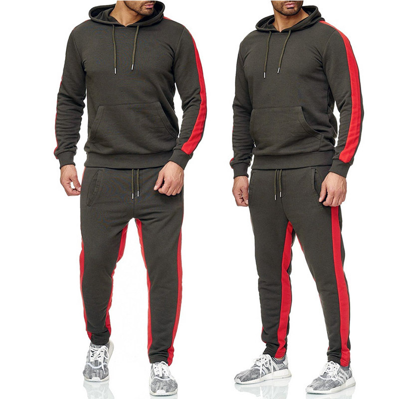 Men's Sports Brand Suit 2 Pieces Of Cotton Hooded Sweater + Sports Trousers Fitness Running Clothes