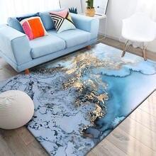 Синий ковер с абстрактным изображением дней синего океана золотистый