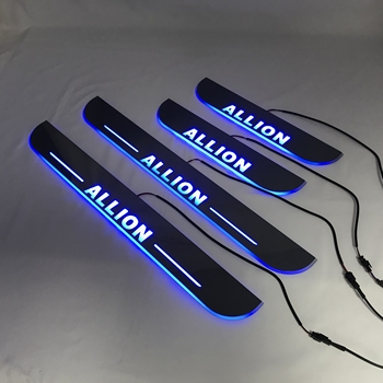 RQXR led moving door scuff for Toyota allion dynamic door sill plate flat lining overlay flow/fixed light, 4pcs
