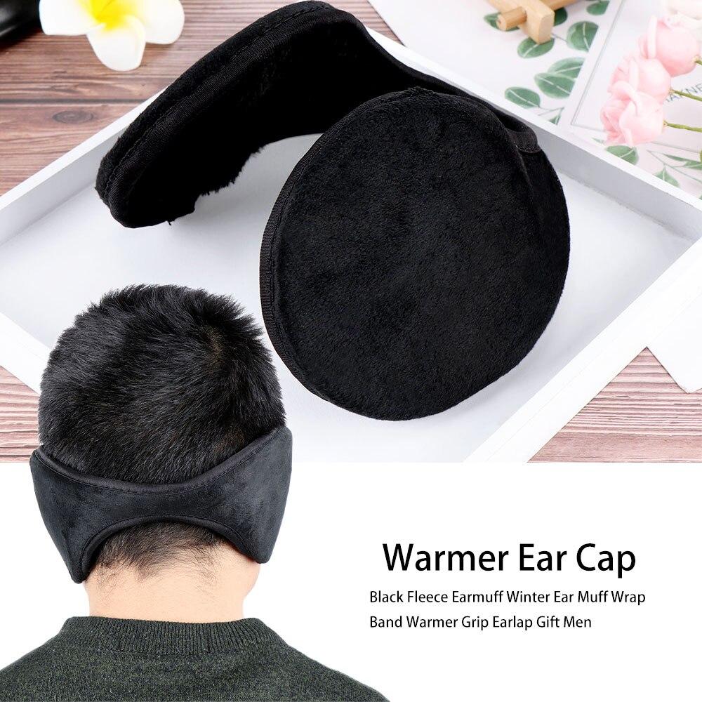 1 Pcs Simple Design Black Solid Black Fleece Earmuff Winter Ear Warm Accessories Muff Wrap Band Men' S Warmer Grip Earlap