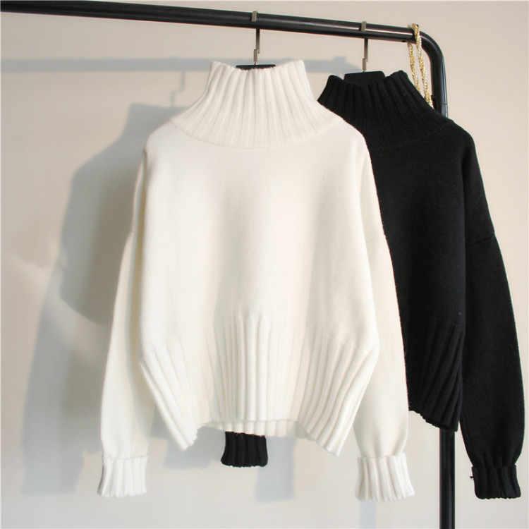 Punto cubierta cabeza suelto lánguida es perezoso viento celebridad web suéter cuello alto pequeño puro y fresco y adorables largo manga corta unl