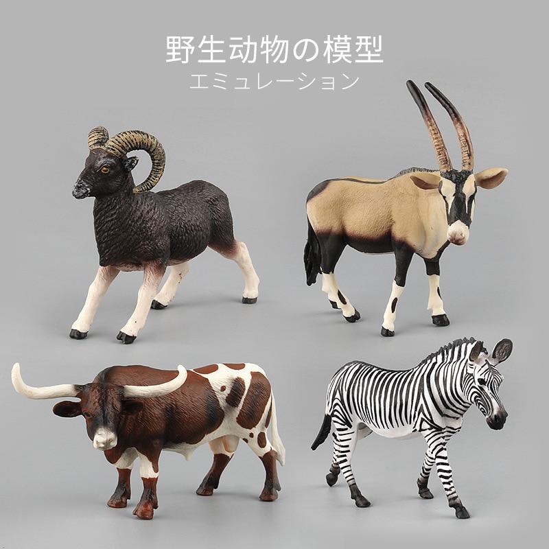 Simulation Wild Jungle Animal Figure zebra Model Collectible bull Figurine Toys Children antelope Action Figures Kids Home Decor