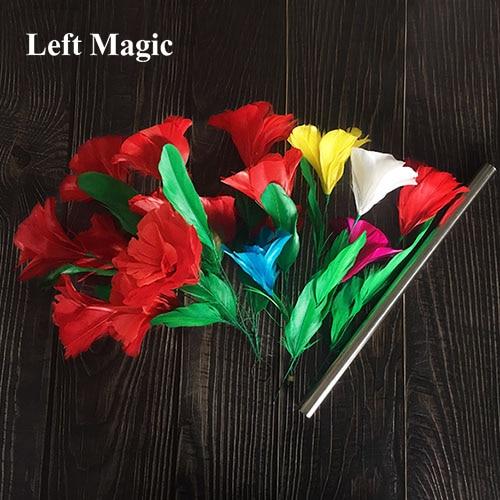 Bouquets apparents et changement de couleur fleur tours de magie baguette à plume Bouquet Magia magicien scène Illusion Gimmick accessoires amusant