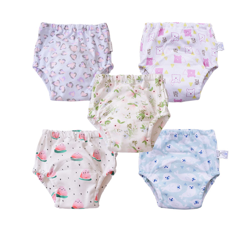 5Pcs Reusable Baby Kids Cloth Diaper Nappies Washable Infants Children Cotton Potty Training Pants Diapering & Toilet Training