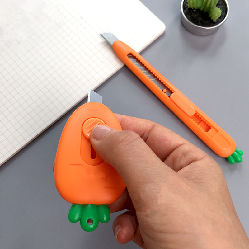 Cute Carrot Utility Knife Paper Cutter Blade Cutting Paper Tool  Office Cartoon Stationery DIY Student School Supplies
