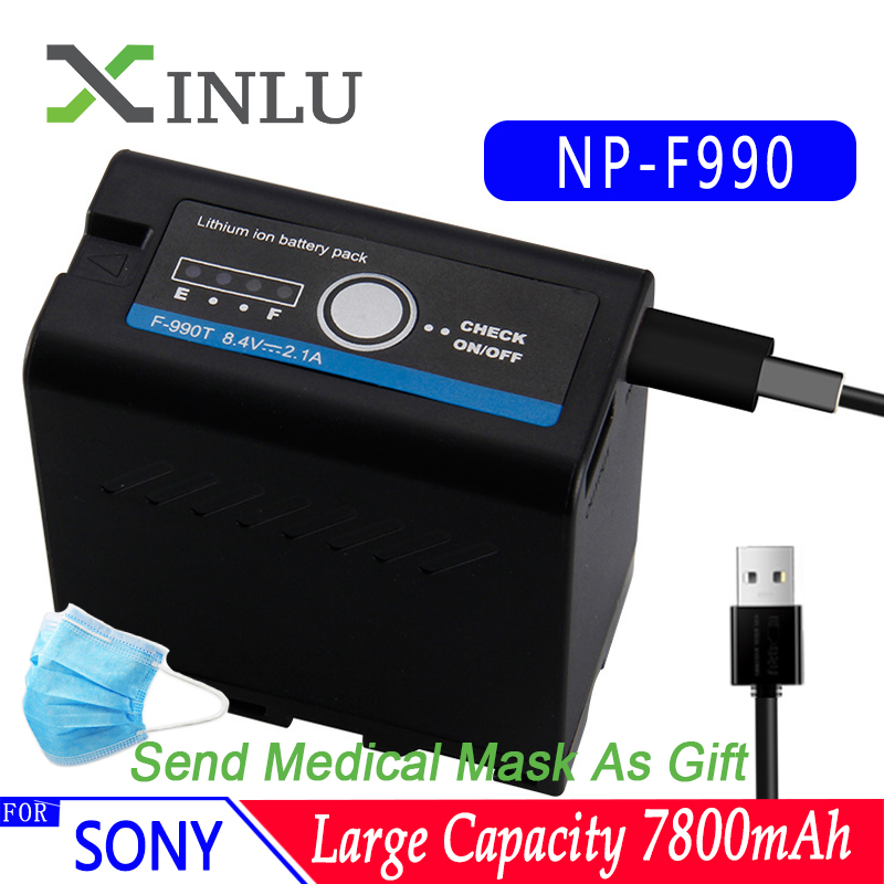 7800mAh NP-F990 NP F990 Batterie Pour Appareil Photo Sony Caméscope HXR-MC1500C NEX-EA50 DSR-PD198P HVR-Z7C NX3 5 lumière LED chargeur Rapide