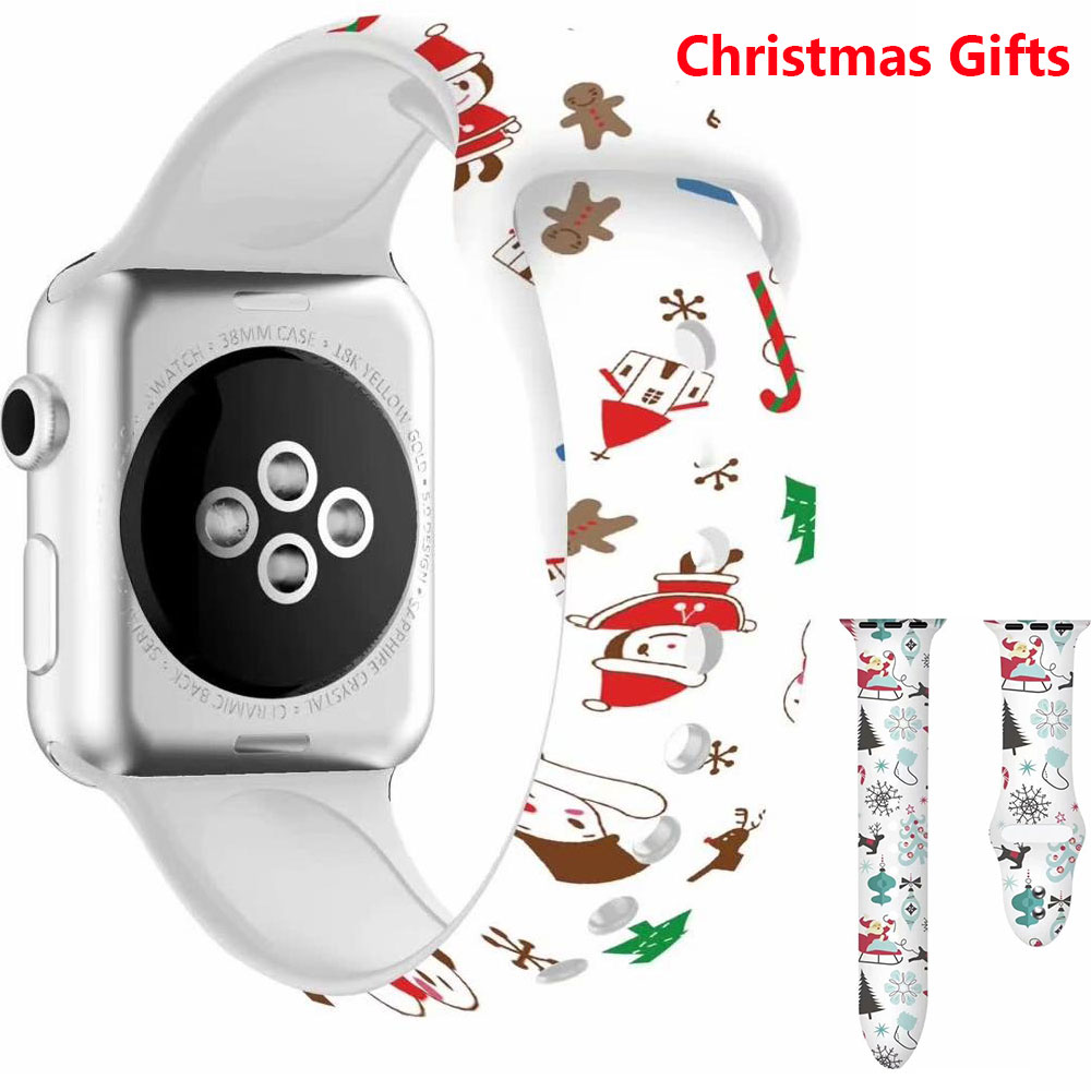 Silicone Printed Christmas Gift Band For Apple Watch 5 4 3 2 1 Bands 40mm 44mm Floral Strap For IWatch Series 5 4 3 2 38mm 42mm
