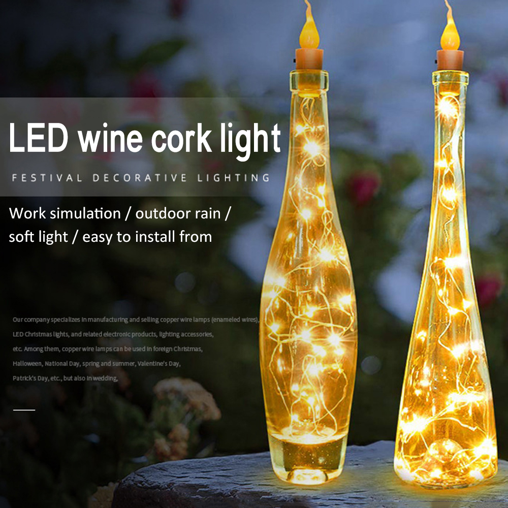 1M/2M Solar Power LED String Lights DIY Fairy Wine Bottle Cork Light 10/20 LEDs Garland Hanging Lights For Christmas Halloween