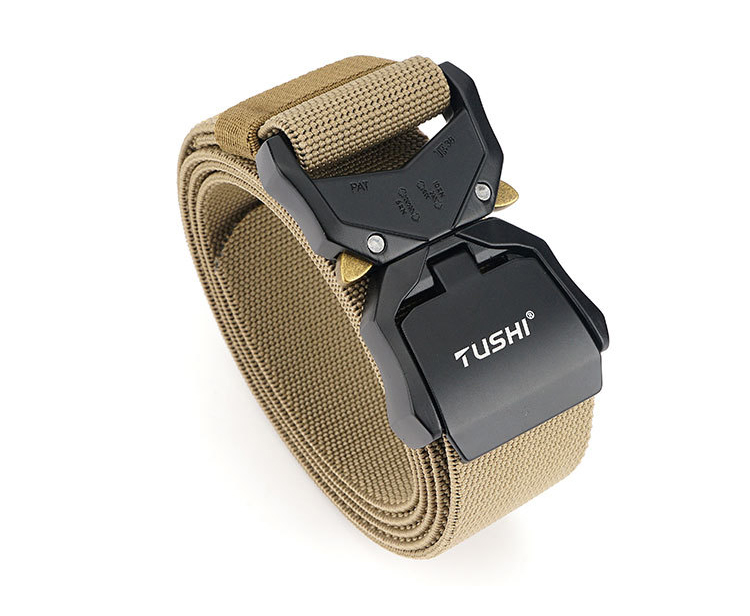 H5509bc1b61ee4a9297a1c9238735f7475 - HSSEE New Elastic Belt Official Genuine Hard Metal Quick Release Buckle Men's Tactical Belt Men's Accessories