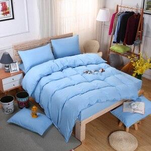 Image 5 - Conjunto de cama minimalista, jogo de cama de tinta azul e com fronha, fronha cinza, confortável e macia, queen, para o verão completo