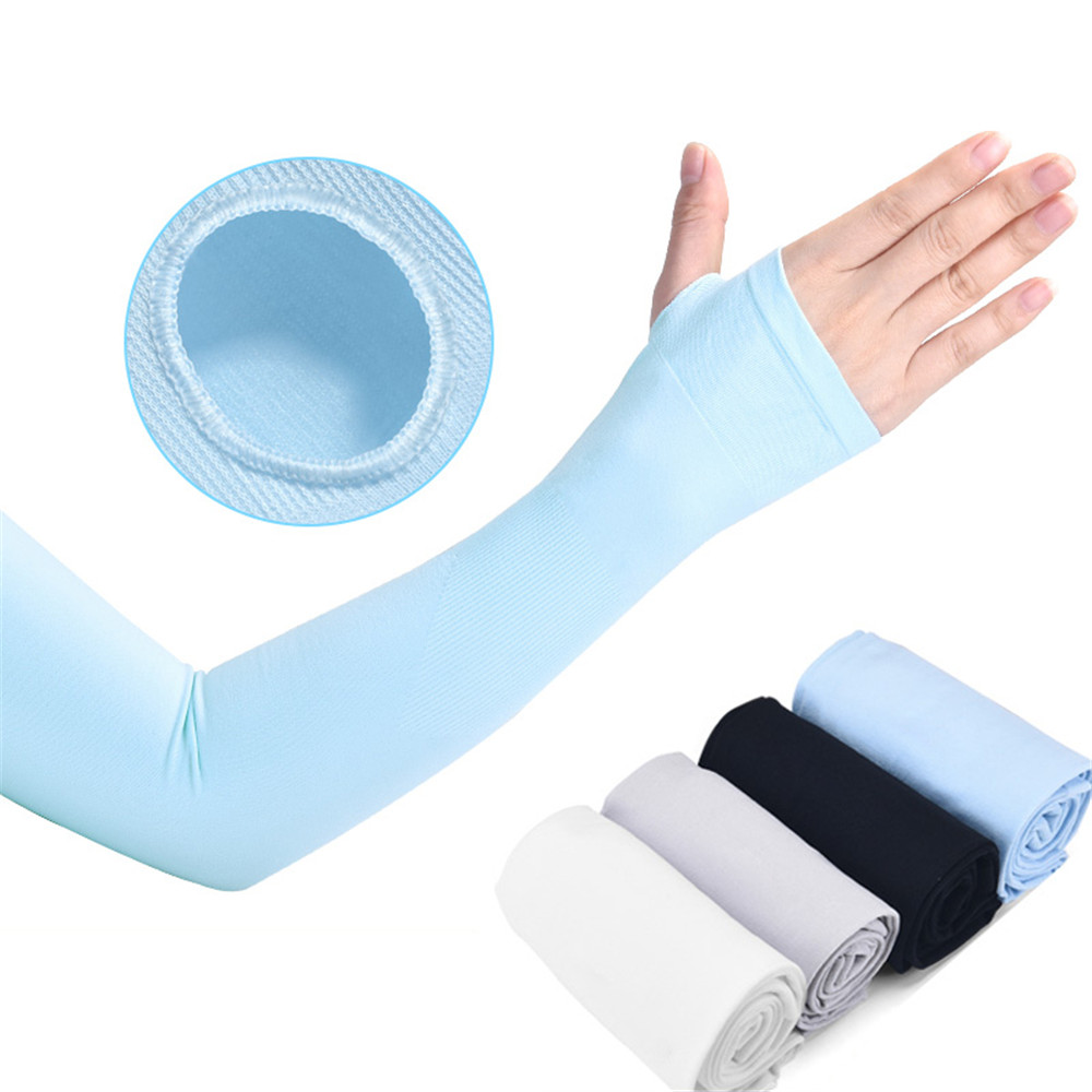Ice Fabric Sunscreen Sleeve UV Armbands Silk Gloves Running Cycling Driving Reflective Bands