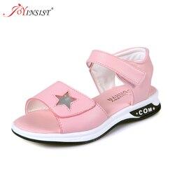 Сандалии для девочек; Новинка 2018 года; пляжная обувь на плоской подошве в Корейском стиле для девочек; Летняя детская обувь для принцессы