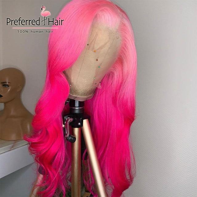 Preferido púrpura Ombre Peluca de cabello humano Remy brasileño de la onda suelta peluca Pre arrancado azul rosa de encaje completo pelucas de cabello humano para las mujeres