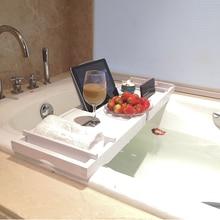 Выдвижная сторона бамбуковая Ванна нескользящий Caddy лоток спа ванна держатель для салфеток Книга Держатель Вина поднос для ванной с дном