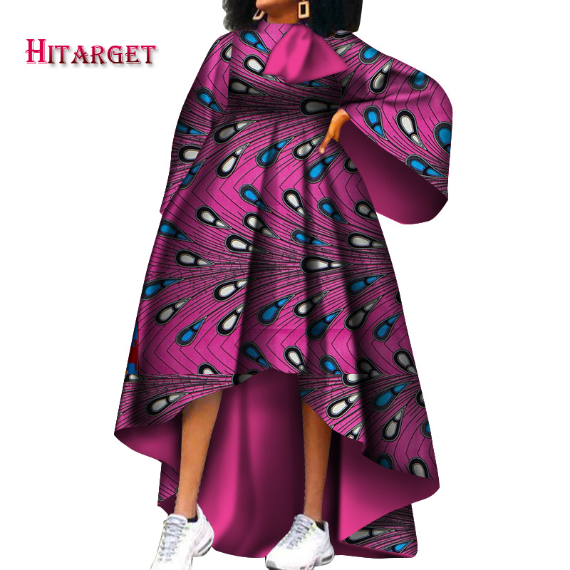 Hitarget African Clothes For Women Dashiki Casual African Print Dresses With Bow For Party/wedding Africa Bazin Fabric WY3942