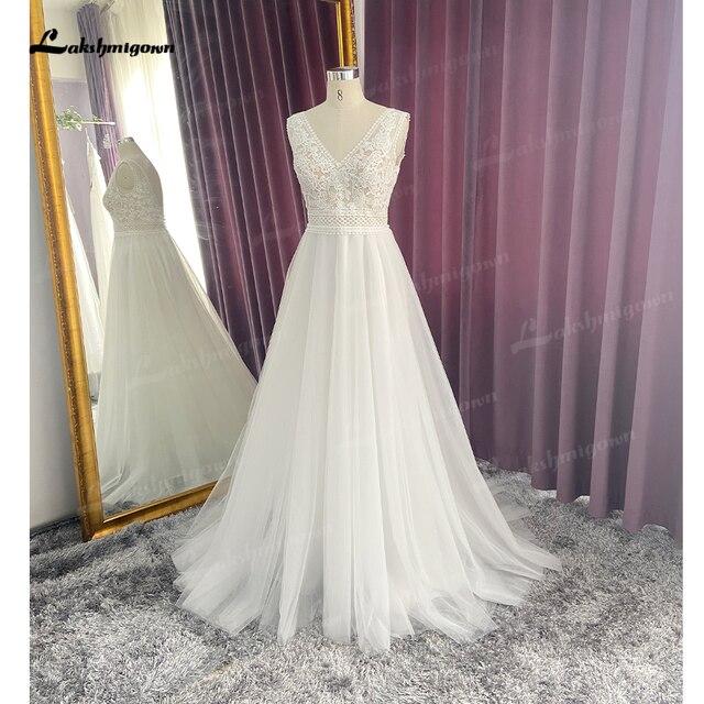 Boho Lace Wedding Dress 2021 Sleeveless Appliqued Beach Bride Dress A-Line Tulle Bride Wedding Gowns for Women vestido de novia 2