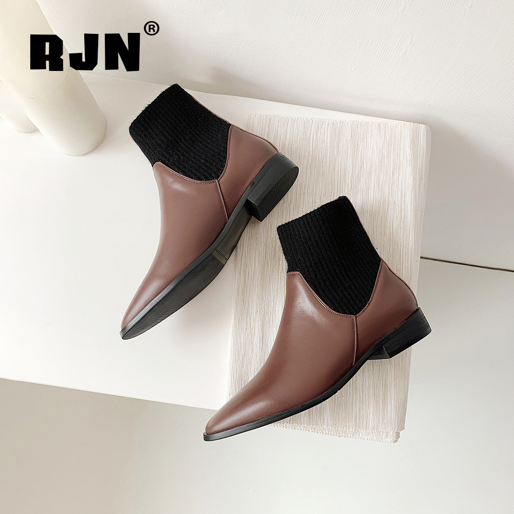 Promo RJN Classic Ankle Boots Cow Leather knitting Solid Comfortable Round Toe Low Square Heel Slip-On Fashion Women Winter Boots RO31