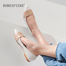 ROBESPIERE New Pointed Toe Women Flats Soft Genuine Leather Mixed Colors Loafers Shoes Casual Shallow Low Heels Ladies A67