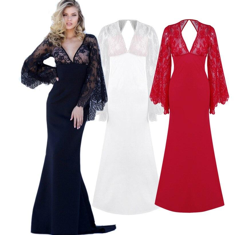 2019 Autumn AliExpress Amazon Wishebay High Quality Evening Gown Lace Bat Sleeve Deep V Dress