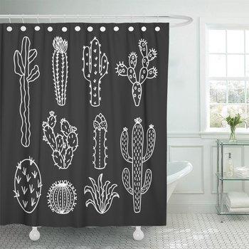 Verde Aloe Cactus contorno Cactus y suculentas dibujos Cortina de ducha de...