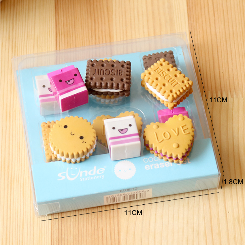 6pcs/lot Kawaii Eraser Cartoon Boxed Milk Biscuit Eraser Cute Stationery School Girl Student Prize Supplies Party Favor Gift