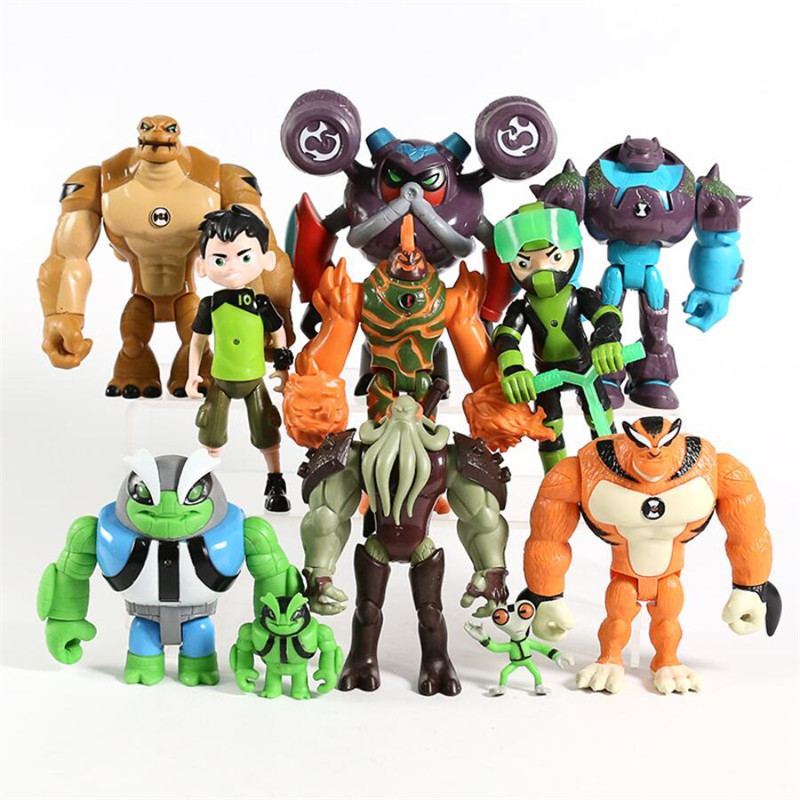 11pcs/set PVC Action Figures Kids Toys Gifts 10 Ben Tennyson Grey Matter Heatblast Humongousaur Rath Vilgax