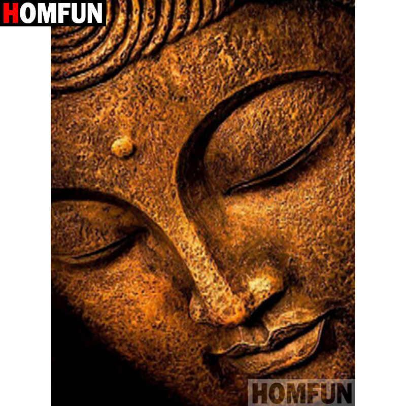 """HOMFUN cuadrado completo/taladro redondo 5D DIY diamante pintura """"Buda religioso"""" bordado 3D punto de cruz 5D hogar decoración regalo A17741"""