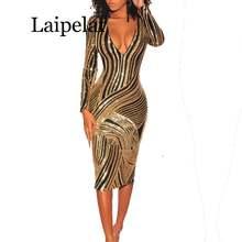 Женское вечернее платье миди с длинным рукавом и v образным