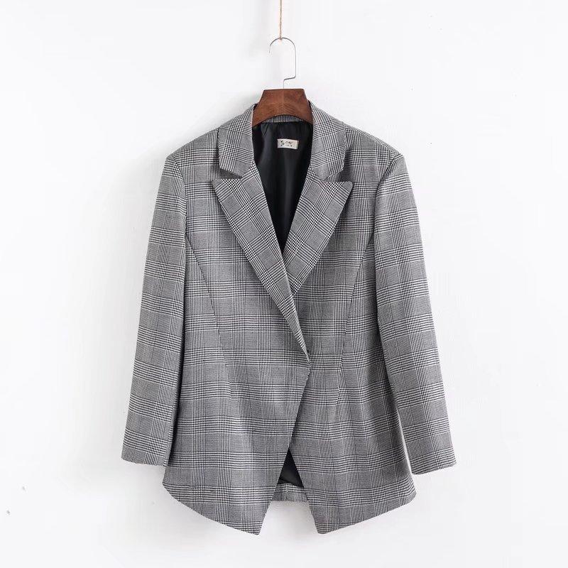 Women's Jacket 2019 Autumn New Casual Fashion Temperament Loose Waist Plaid Stitching Small Suit Women's Shirt