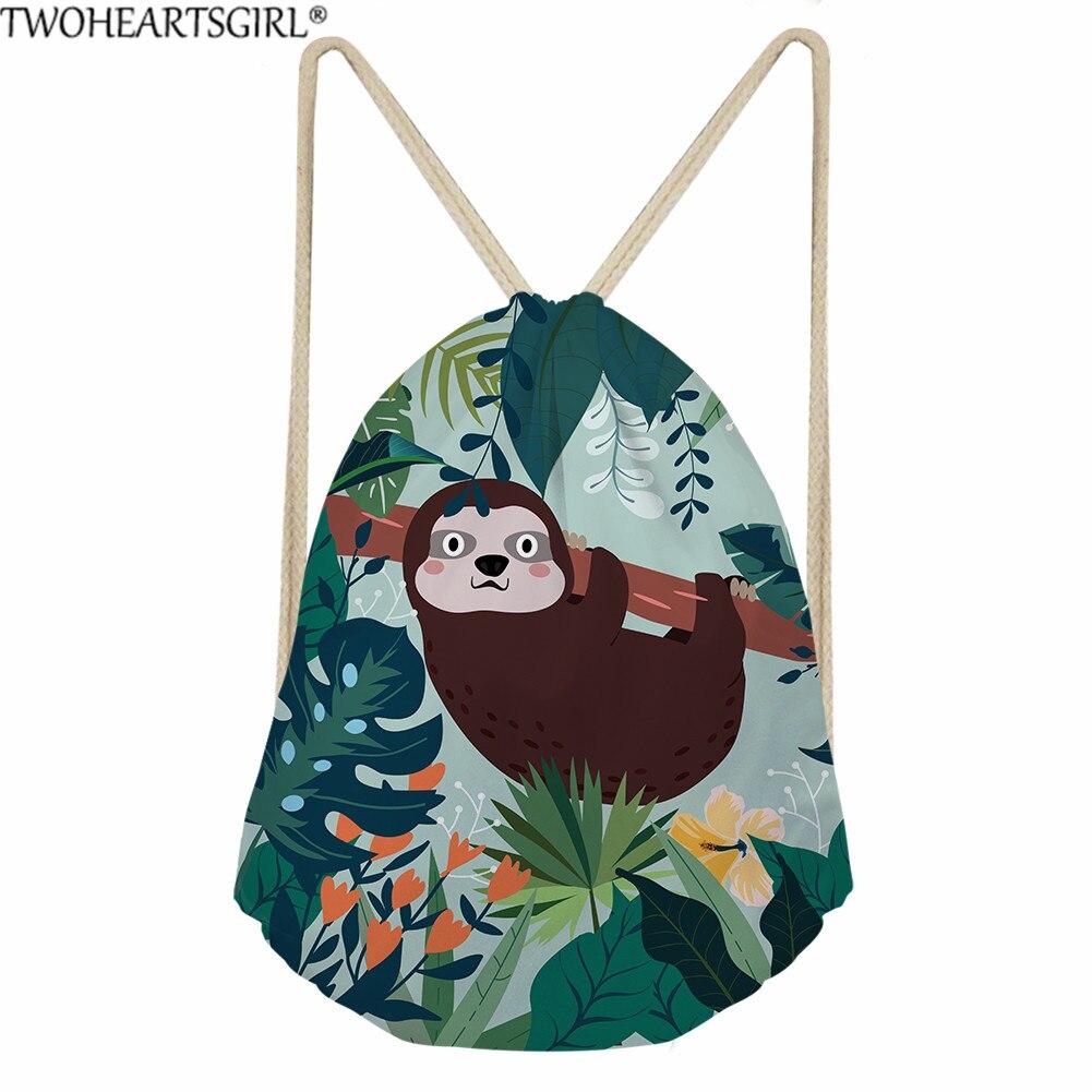 Twoheartsgirl Kawaii Drawstring Bags Cute Sloth Printing Linen Drawstring Waterproof Backpack For Kids Outside Storage Bags