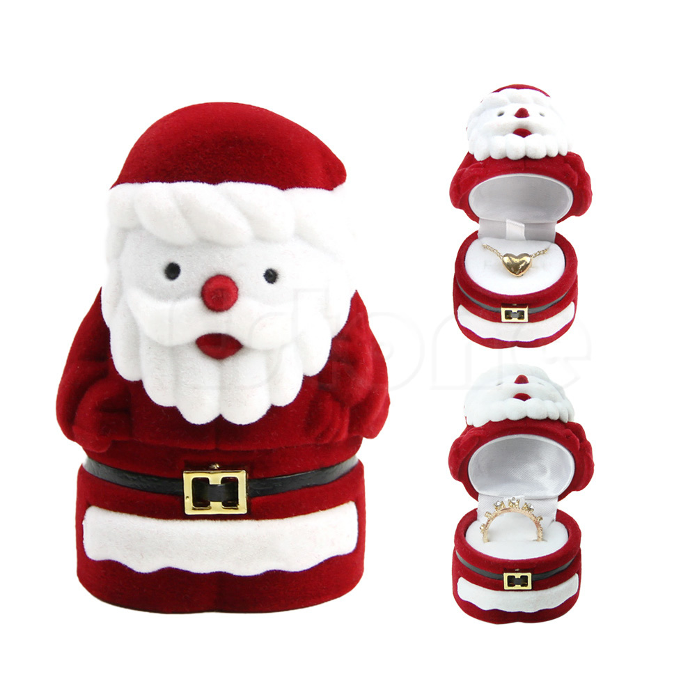 Sweet Santa Claus Ring Earring Ear Stud Storage Case Jewellery Container Box Red LX9D
