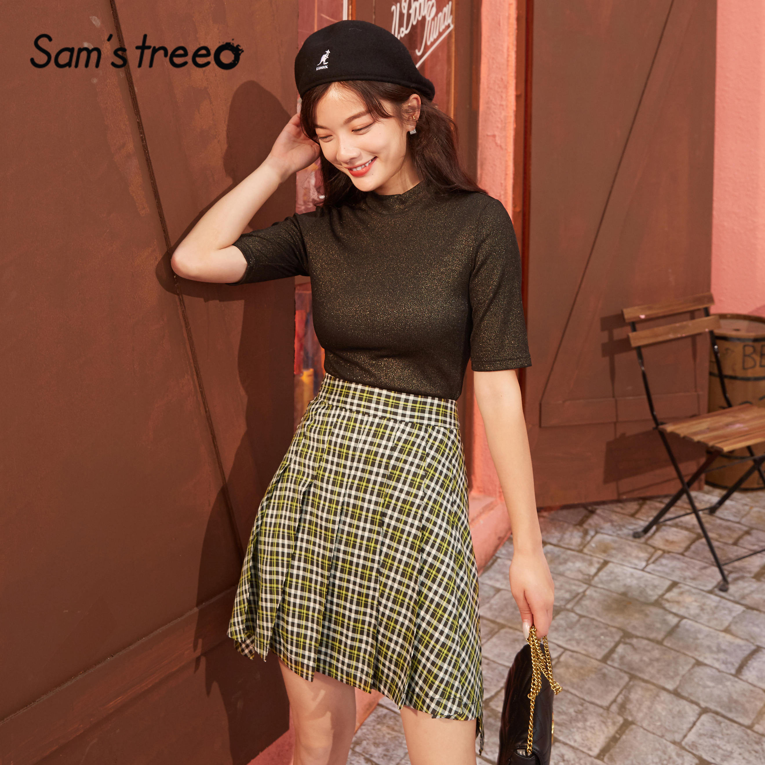SAM'S TREE Brown Plaid High Waist Casual Preppy Mini Women Skirts 2020 Spring Gray A Line Irregular Korean Girly Pleated Skirt